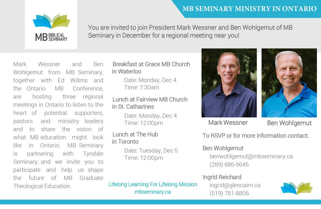 MB Seminary Ministry in Ontario Invite